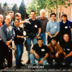 A historic photo with the guru and Steadicam's inventor Garrett Brown (with its unmistakable white hair), during the International Master Steadicam Convention in Venice (1997). I am the lowest and still young at that time 😉 with the Steadicam wearing. At my left side, another great Steadicam operator, Alex Brambilla.